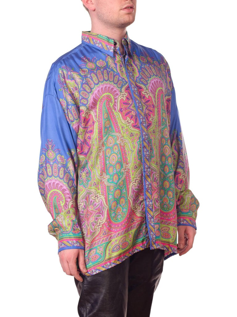 1990s Gianni Versace Men's paisley Printed Shirt For Sale 6