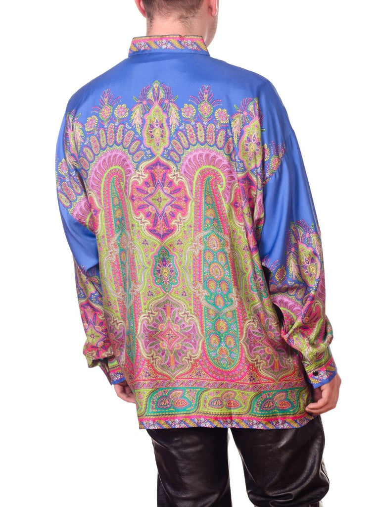 1990s Gianni Versace Men's paisley Printed Shirt For Sale 5