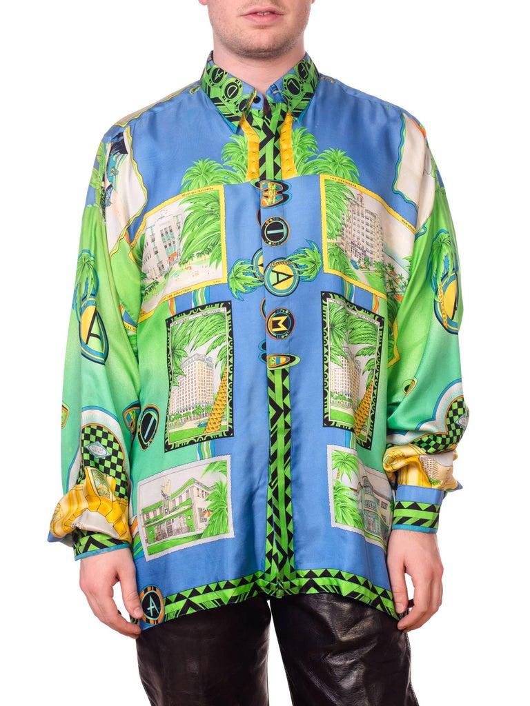 1990s Gianni Versace Miami South Beach Collection Postcard Print Silk Shirt For Sale 1