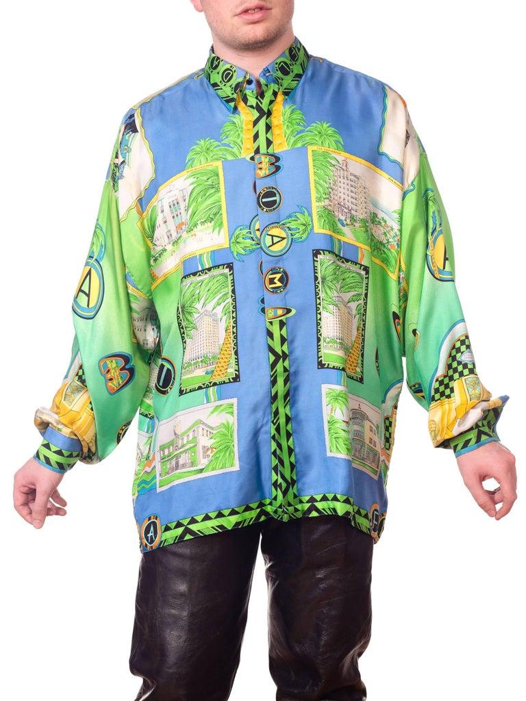 1990s Gianni Versace Miami South Beach Collection Postcard Print Silk Shirt For Sale 2