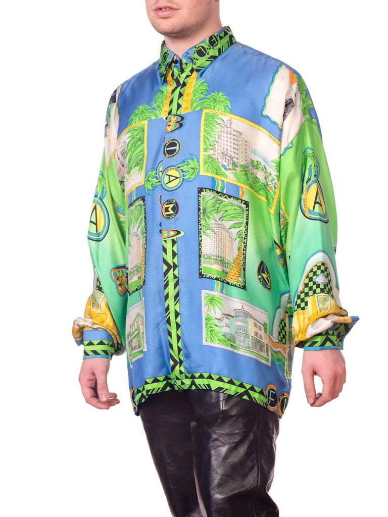 1990s Gianni Versace Miami South Beach Collection Postcard Print Silk Shirt In Excellent Condition In New York, NY
