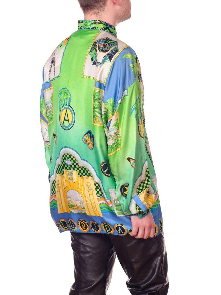 1990s Gianni Versace Miami South Beach Collection Postcard Print Silk Shirt For Sale 7