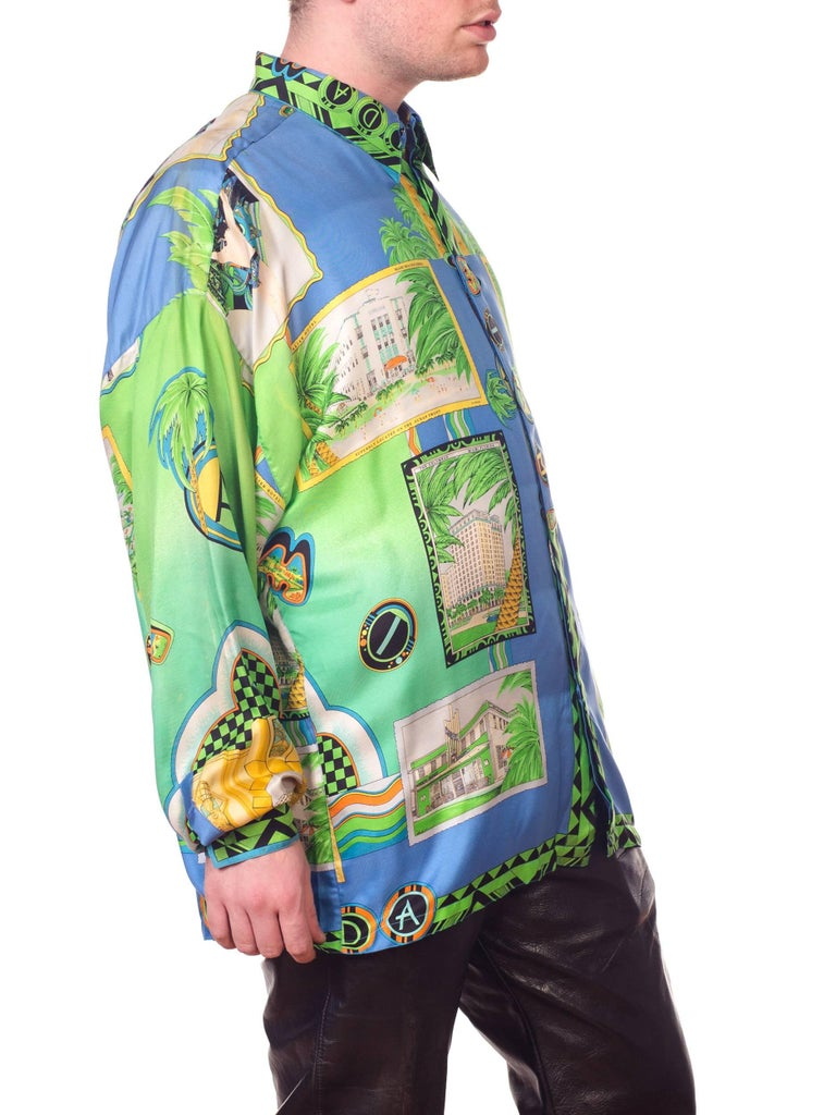 1990s Gianni Versace Miami South Beach Collection Postcard Print Silk Shirt For Sale 8