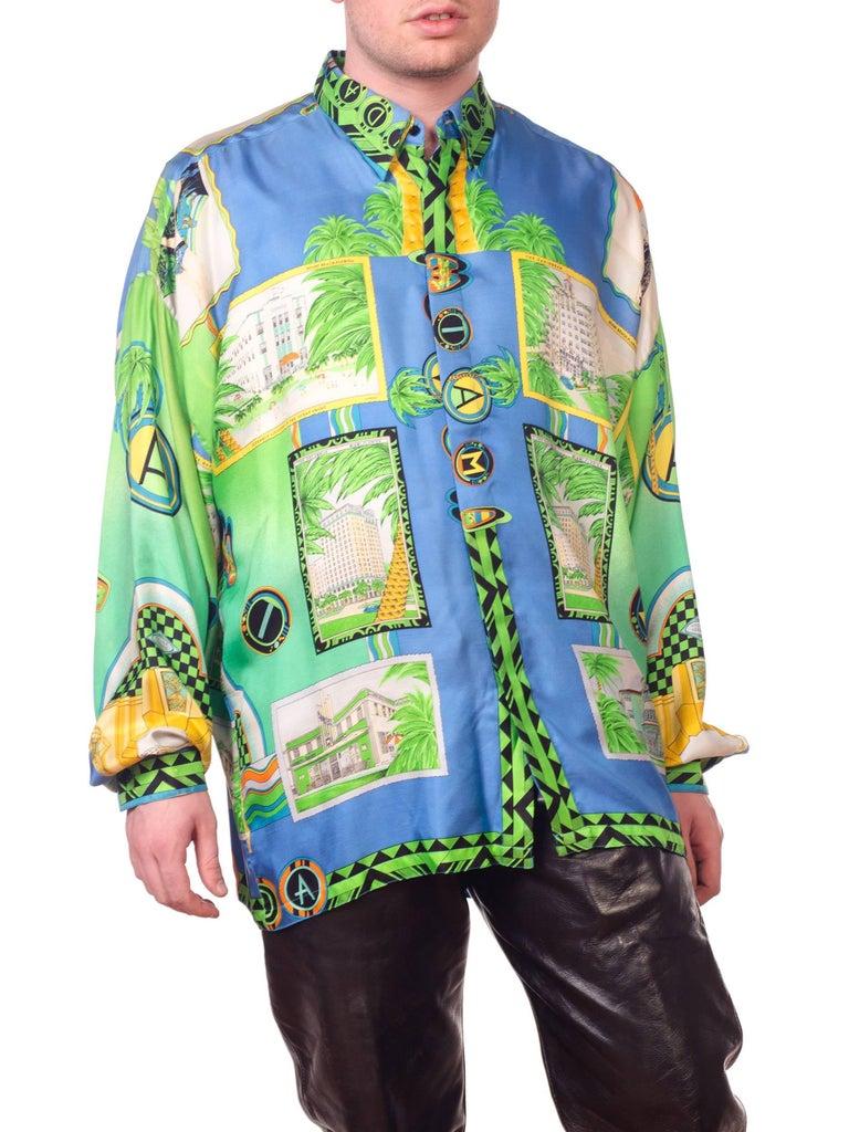 1990s Gianni Versace Miami South Beach Collection Postcard Print Silk Shirt For Sale 9