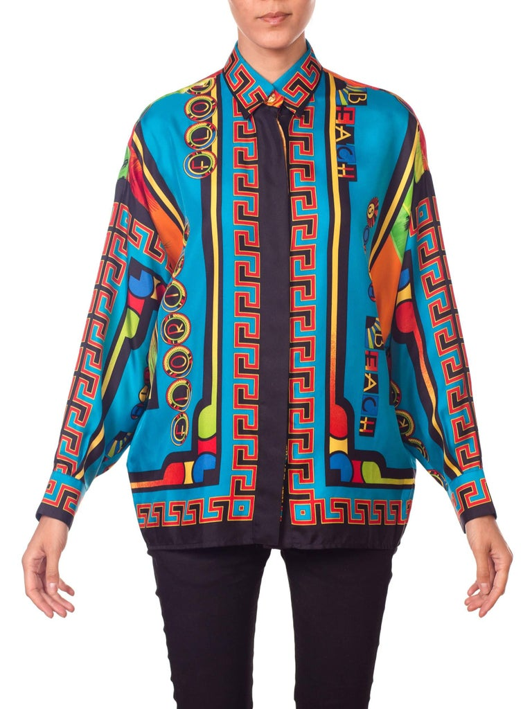 Blue Gianni Versace Istante Miami South Beach Collection Palm Print Silk Shirt For Sale