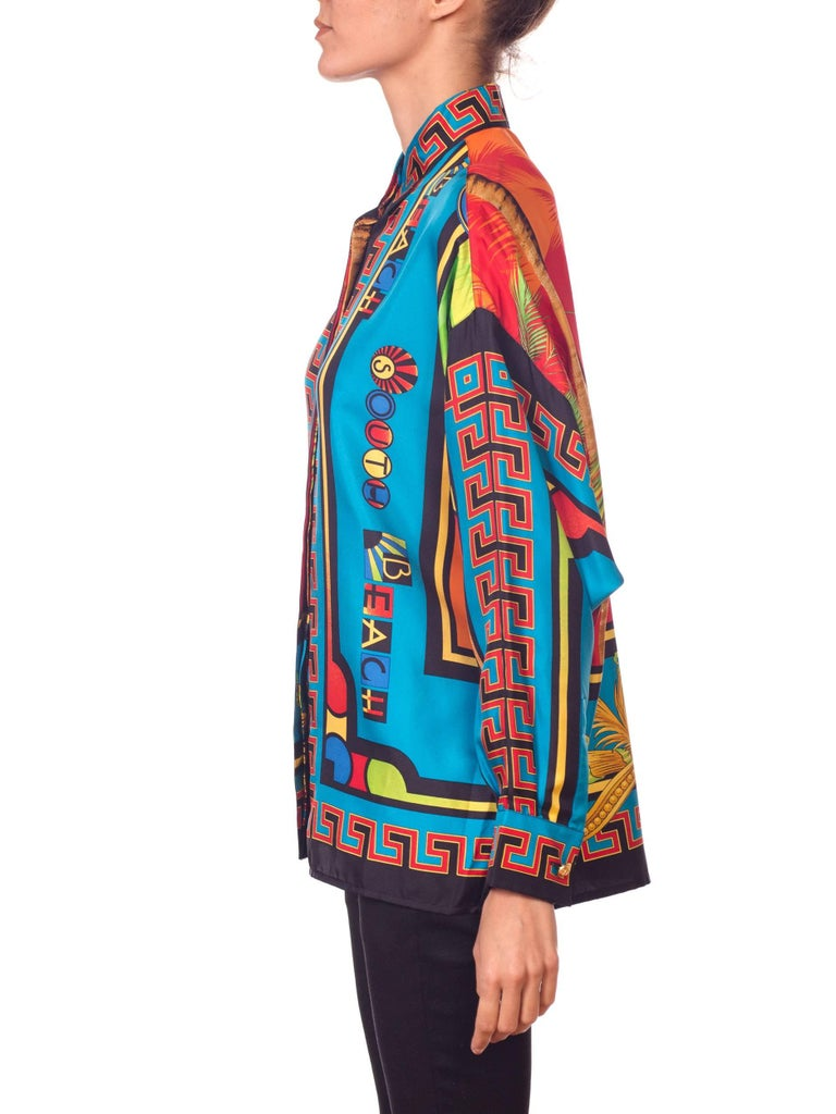 Gianni Versace Istante Miami South Beach Collection Palm Print Silk Shirt For Sale 2