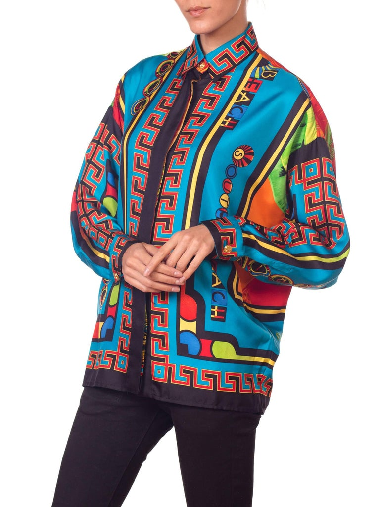 Gianni Versace Istante Miami South Beach Collection Palm Print Silk Shirt For Sale 1