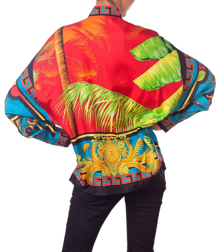 Gianni Versace Istante Miami South Beach Collection Palm Print Silk Shirt For Sale 4