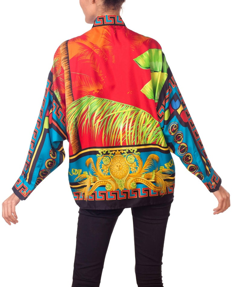 Gianni Versace Istante Miami South Beach Collection Palm Print Silk Shirt For Sale 3