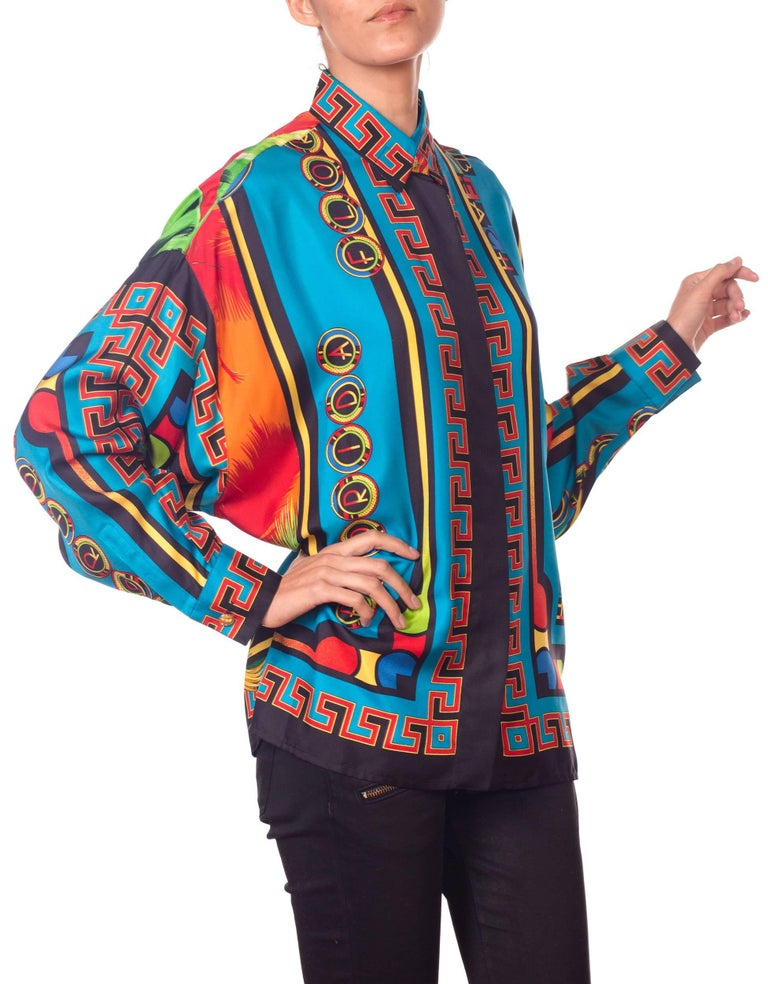 Gianni Versace Istante Miami South Beach Collection Palm Print Silk Shirt For Sale 5