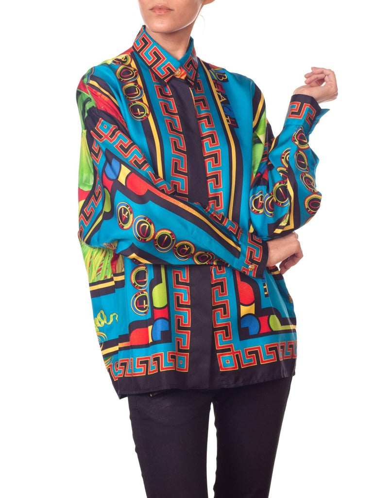 Gianni Versace Istante Miami South Beach Collection Palm Print Silk Shirt For Sale 6