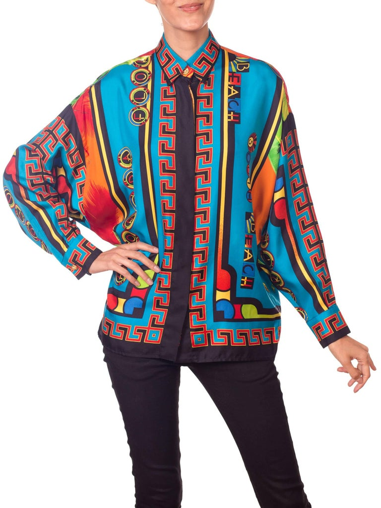 Gianni Versace Istante Miami South Beach Collection Palm Print Silk Shirt For Sale 8