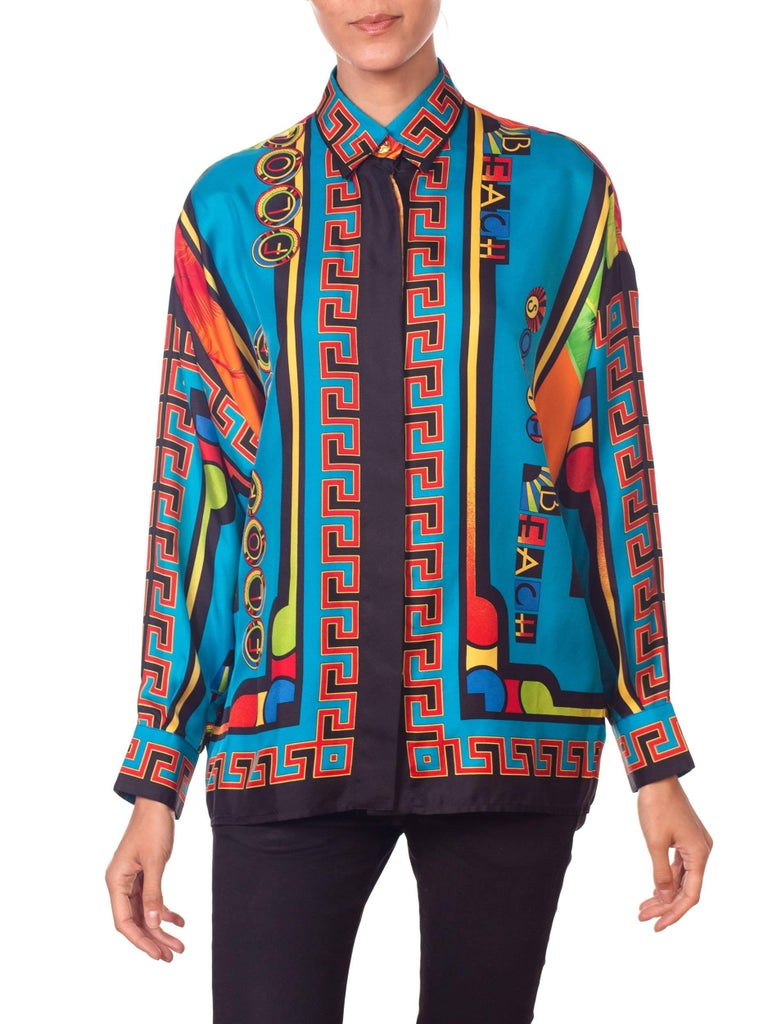 Gianni Versace Istante Miami South Beach Collection Palm Print Silk Shirt For Sale 9