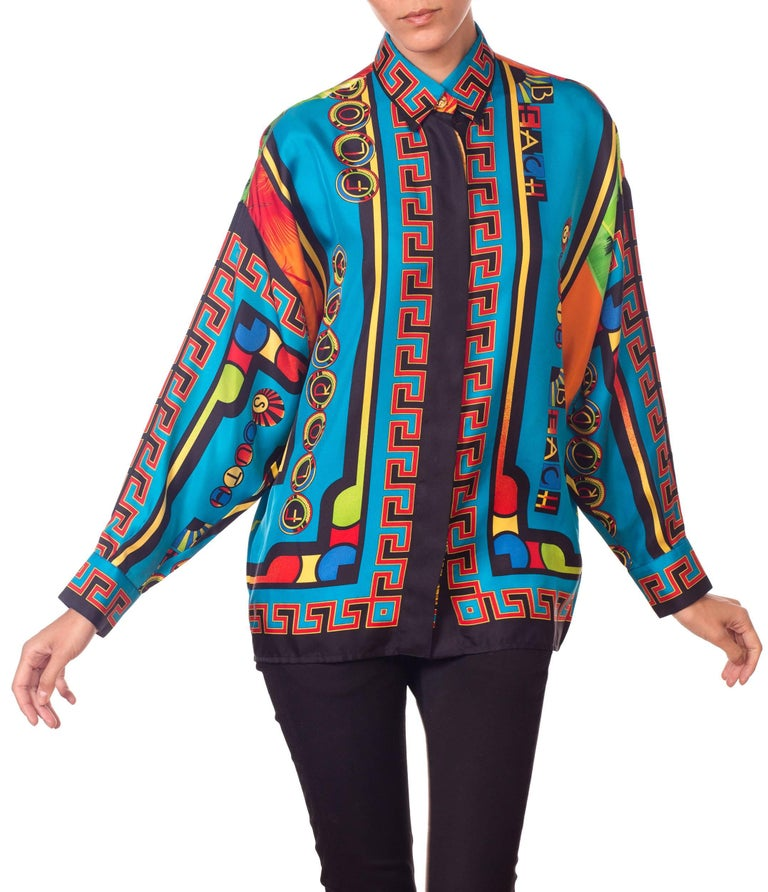 Gianni Versace Istante Miami South Beach Collection Palm Print Silk Shirt For Sale 7