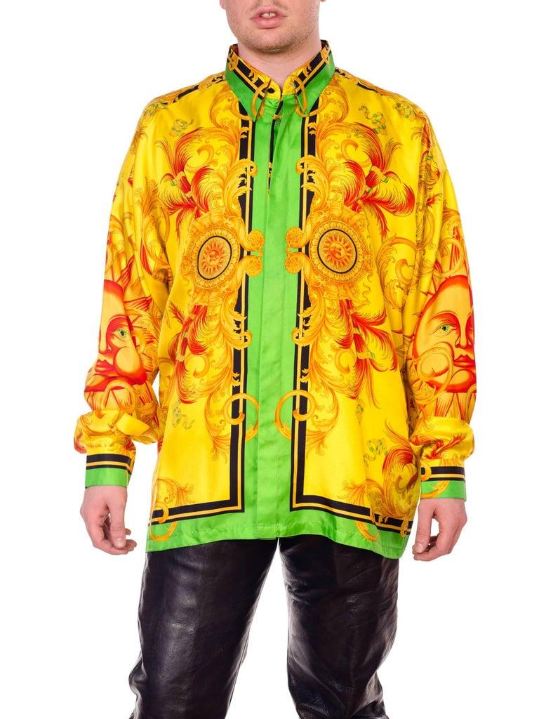 3767ea3e2 Versace Yellow Baroque Sun Silk Shirt For Sale at 1stdibs