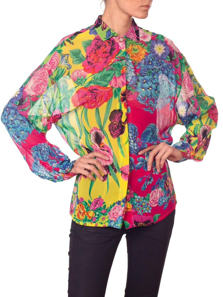 1990s Gianni Versace Versus Sheer Floral Chiffon Shirt For Sale 3
