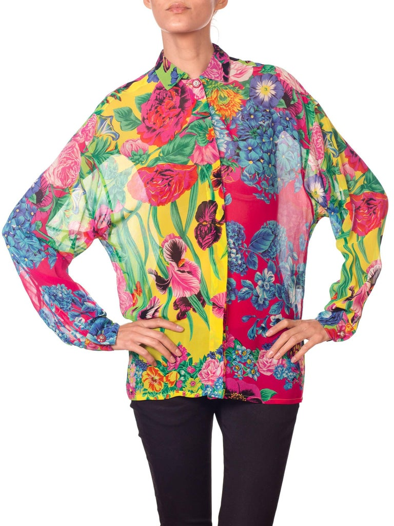 1990s Gianni Versace Versus Sheer Floral Chiffon Shirt For Sale 6