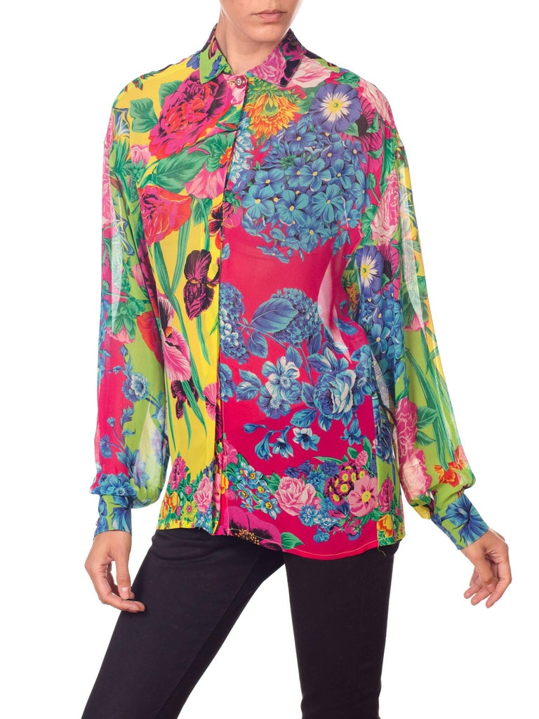 1990s Gianni Versace Versus Sheer Floral Chiffon Shirt For Sale 5