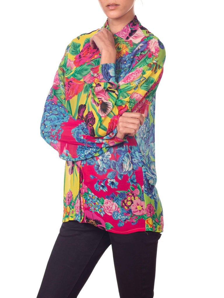 1990s Gianni Versace Versus Sheer Floral Chiffon Shirt For Sale 4