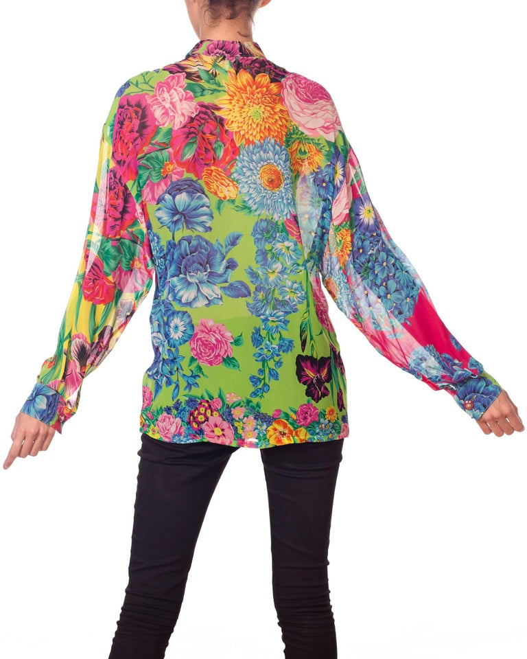 1990s Gianni Versace Versus Sheer Floral Chiffon Shirt For Sale 2