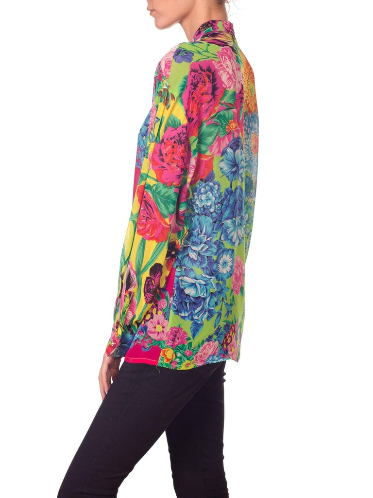 1990s Gianni Versace Versus Sheer Floral Chiffon Shirt For Sale 1