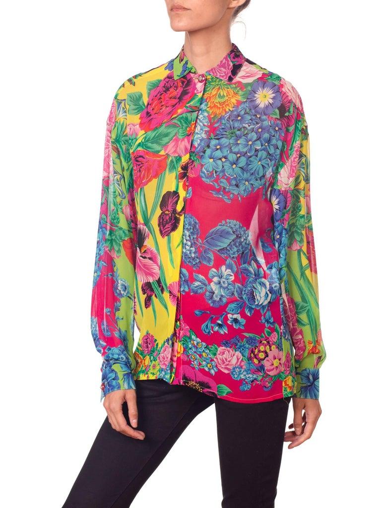 Women's 1990s Gianni Versace Versus Sheer Floral Chiffon Shirt For Sale