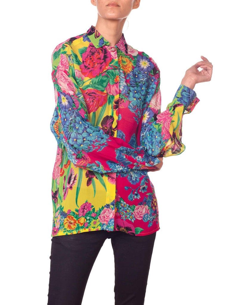 1990s Gianni Versace Versus Sheer Floral Chiffon Shirt In Excellent Condition For Sale In New York, NY