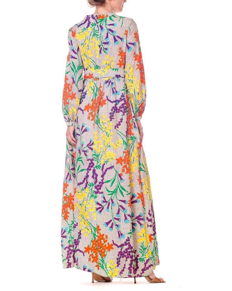 9b56575b358 Women's 1970s Bergdorf Goodman Gucci Style MOD Floral Print Boho Maxi Dress  For Sale