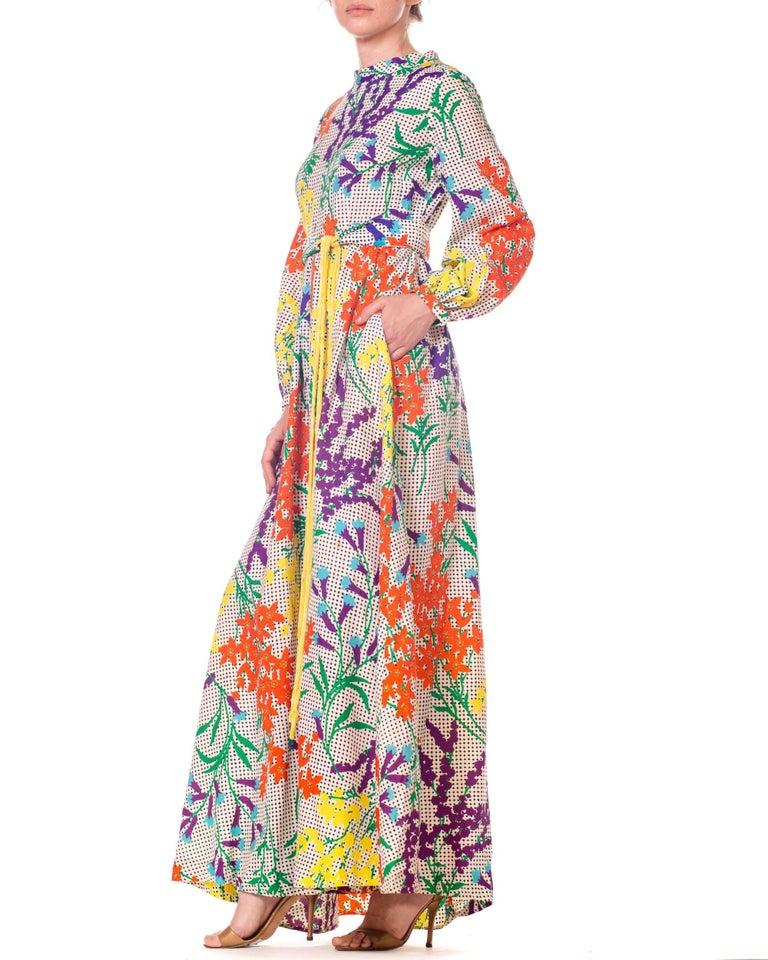35aaf3d65aa 1970s Bergdorf Goodman Gucci Style MOD Floral Print Boho Maxi Dress For Sale  1