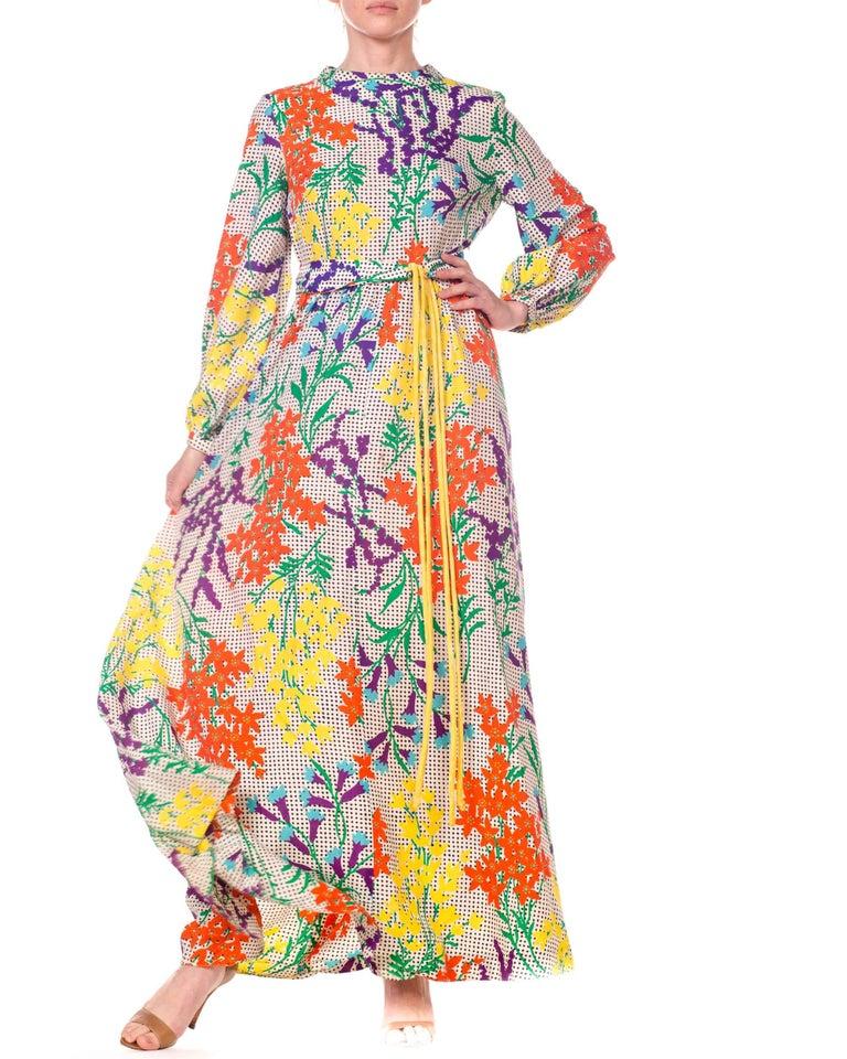 9083fde3b14 1970s Bergdorf Goodman Gucci Style MOD Floral Print Boho Maxi Dress For Sale  3