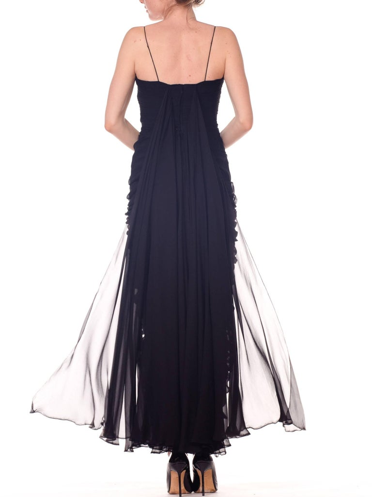 1950s Black Chiffon Demi-Couture Bombshell Evening Gown For Sale 4