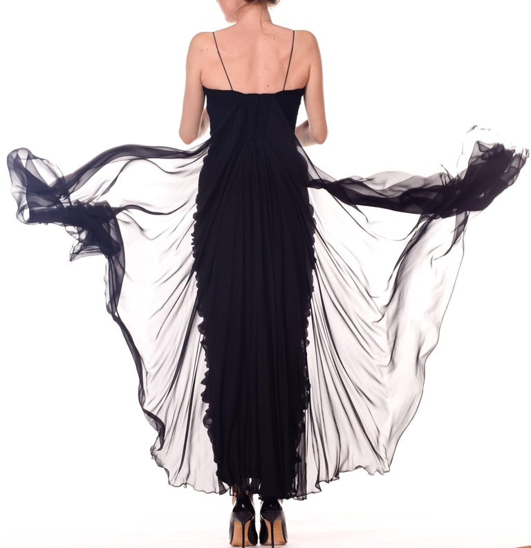 1950s Black Chiffon Demi-Couture Bombshell Evening Gown For Sale 6