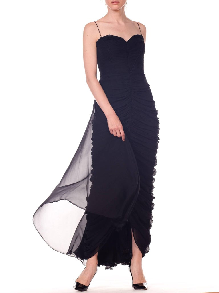 1950s Black Chiffon Demi-Couture Bombshell Evening Gown For Sale 8