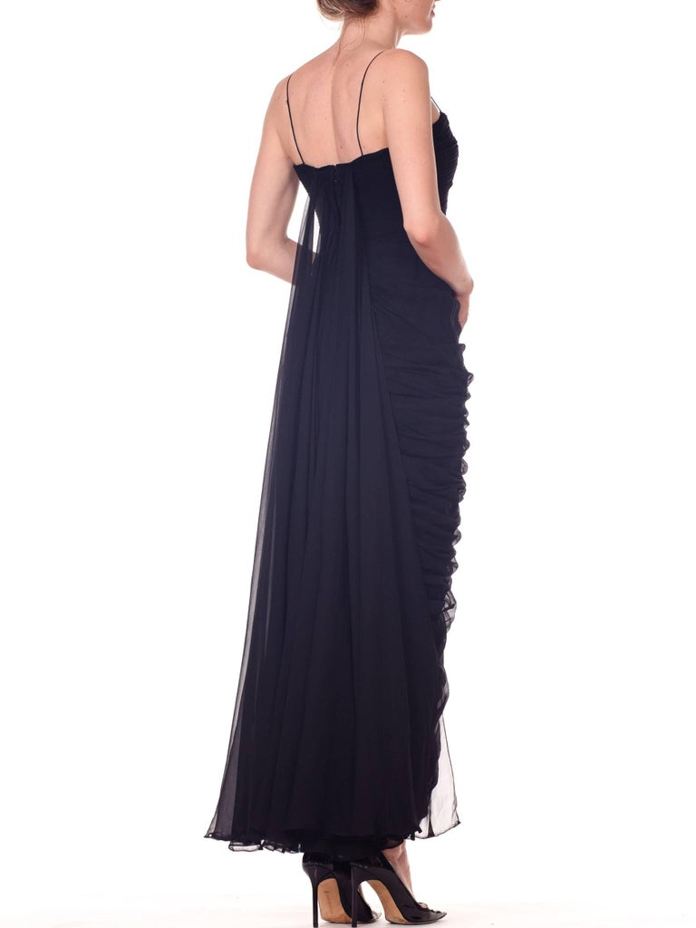 1950s Black Chiffon Demi-Couture Bombshell Evening Gown For Sale 7