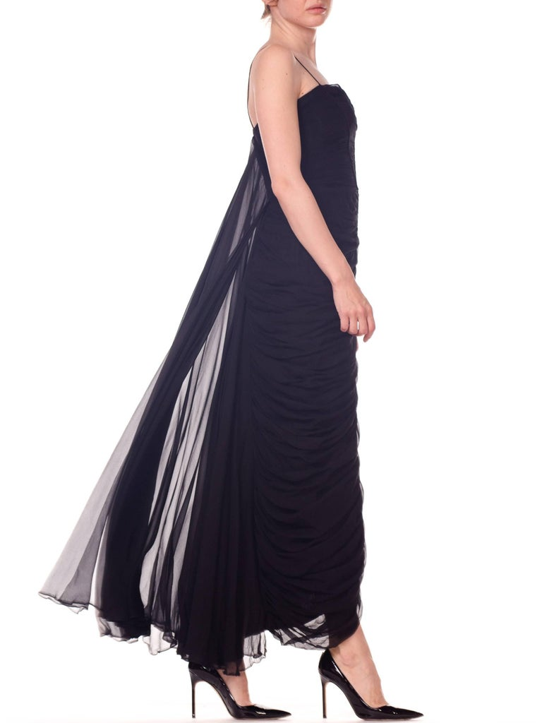 1950s Black Chiffon Demi-Couture Bombshell Evening Gown In Excellent Condition For Sale In New York, NY