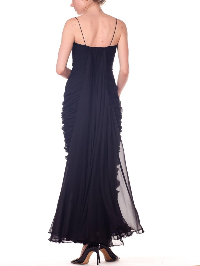 1950s Black Chiffon Demi-Couture Bombshell Evening Gown For Sale 9