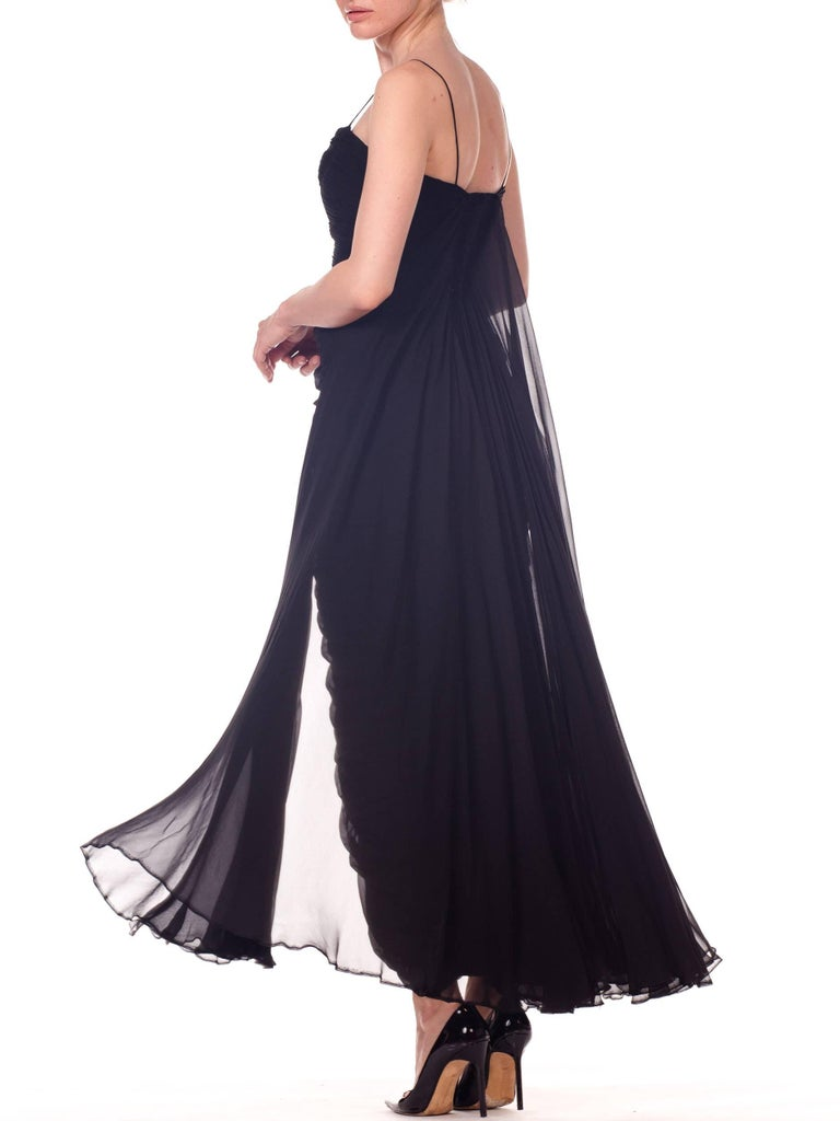 1950s Black Chiffon Demi-Couture Bombshell Evening Gown For Sale 11
