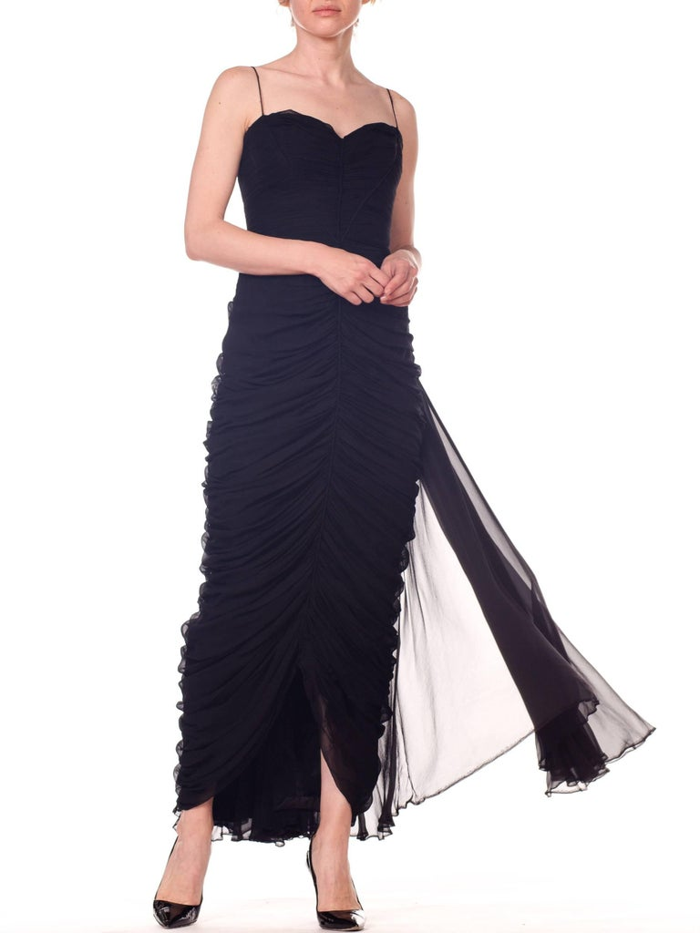 1950s Black Chiffon Demi-Couture Bombshell Evening Gown For Sale 12