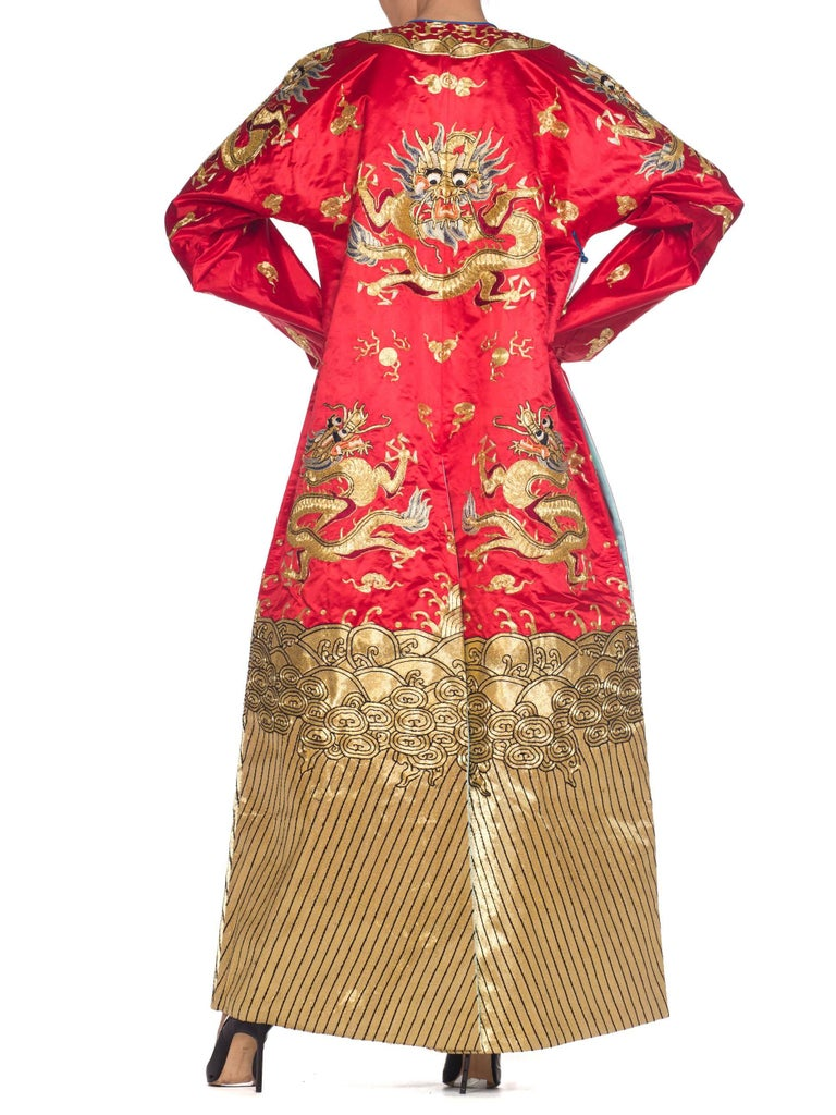 Kimono Style Metallic Golden Dragon Embroidered Red Chinese Opera Robe For Sale 3