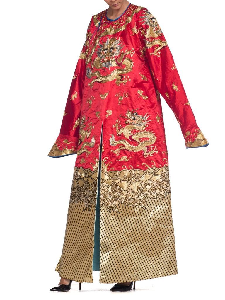 Kimono Style Metallic Golden Dragon Embroidered Red Chinese Opera Robe For Sale 5