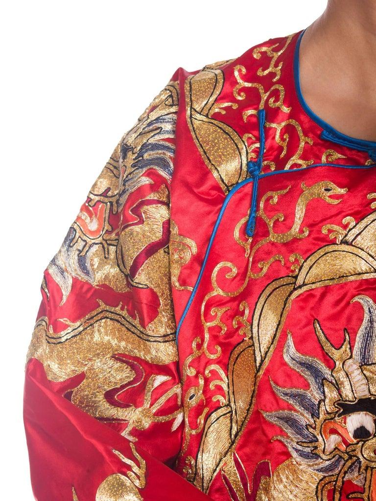 Kimono Style Metallic Golden Dragon Embroidered Red Chinese Opera Robe For Sale 6