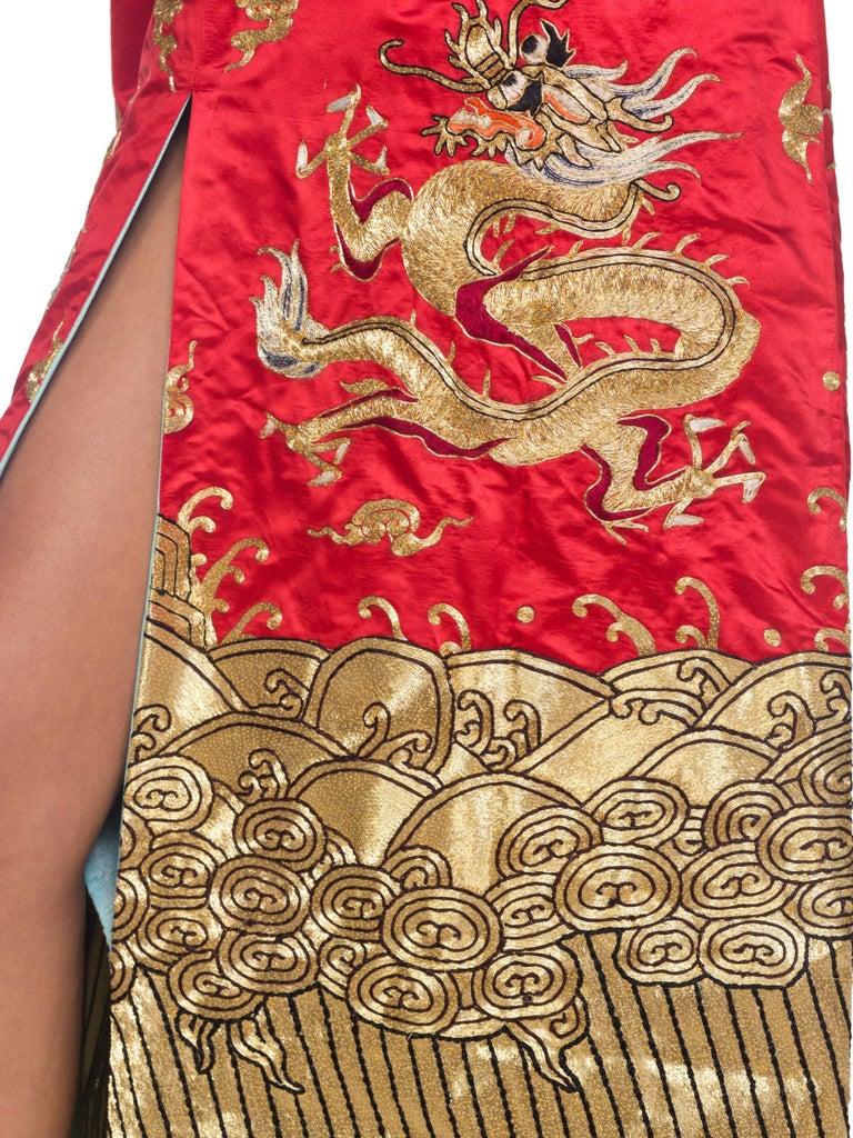 Kimono Style Metallic Golden Dragon Embroidered Red Chinese Opera Robe For Sale 7
