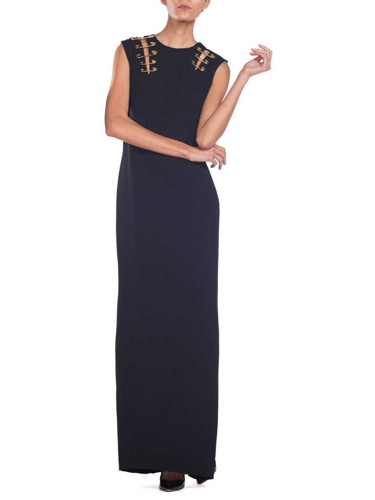 1990s Gianni Versace Gold Medusa Safety Pin Gown For Sale 3