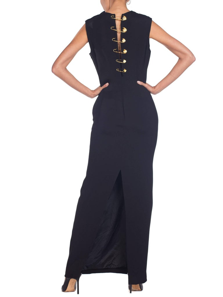 1990s Gianni Versace Gold Medusa Safety Pin Gown For Sale 6