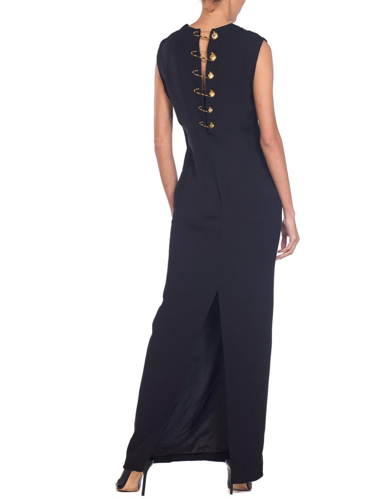 1990s Gianni Versace Gold Medusa Safety Pin Gown For Sale 5