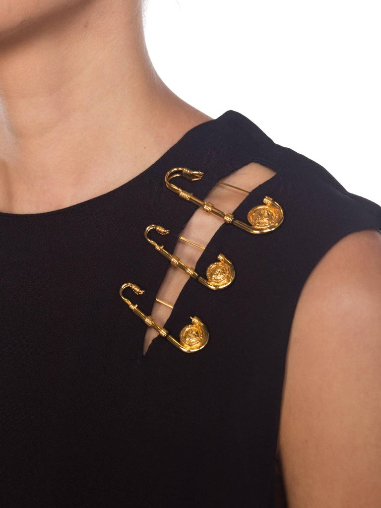 1990s Gianni Versace Gold Medusa Safety Pin Gown For Sale 9