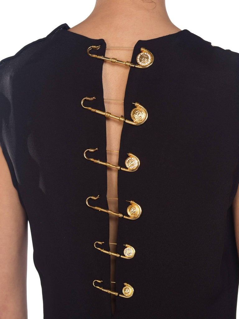 1990s Gianni Versace Gold Medusa Safety Pin Gown For Sale