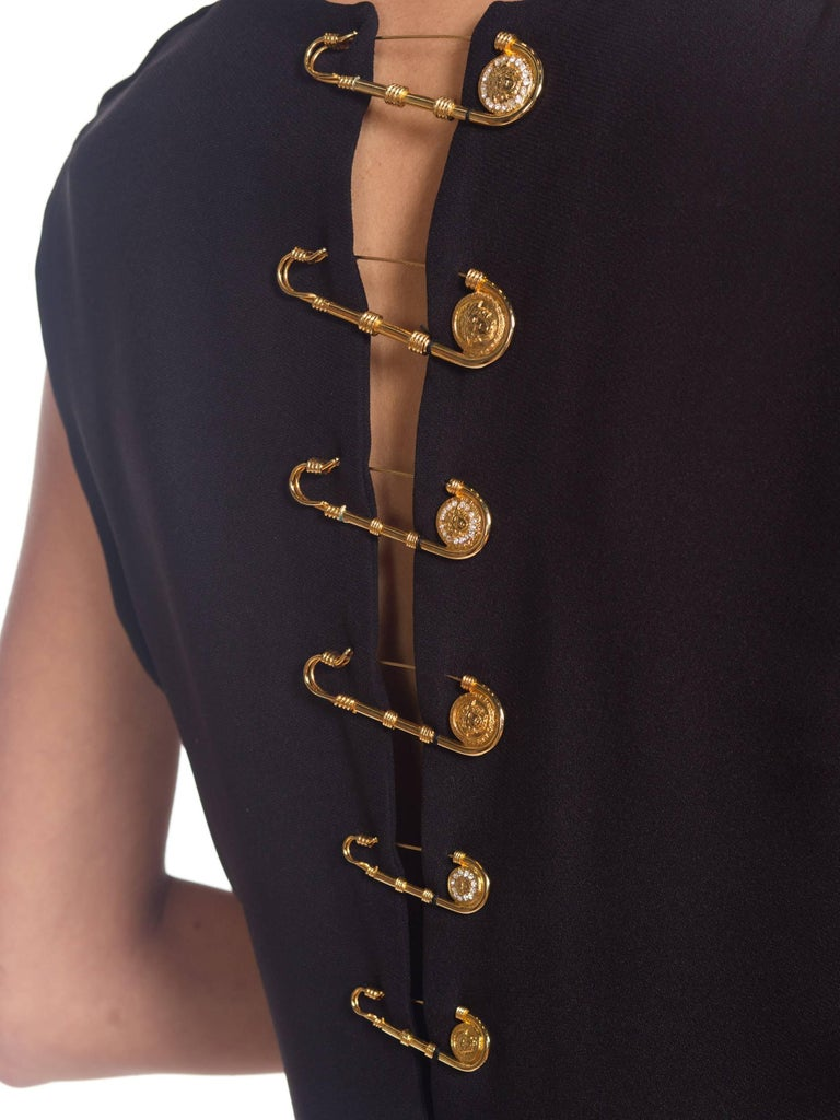 1990s Gianni Versace Gold Medusa Safety Pin Gown For Sale 10