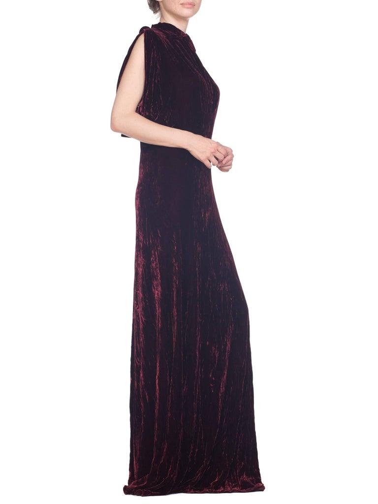 1930S Burgundy Bias Cut Silk Velvet Draped Bodice & Open Sleeve Gown XL For Sale 3