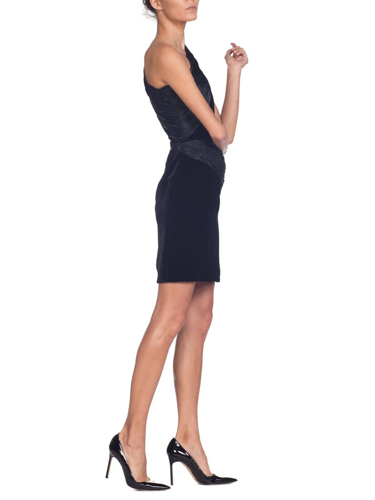 Valentino Velvet Cocktail Dress with Satin Shirring, 1980s  For Sale 1